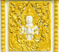 Statue about religion on the wall, Thai temple Royalty Free Stock Photo