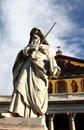 The Statue of Saint Paul in front of Cathedral S.Paul outside the wall, Rome Royalty Free Stock Photo