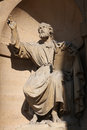 Statue of saint peter near the entrance of the church saint sulpice in paris france Stock Images