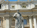 Statue of saint peter and saint peter s basilica at st peter s in square vatican city rome italy Royalty Free Stock Photography