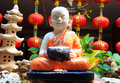 Statue of serenity novice in the garden Royalty Free Stock Photos