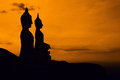 Statue silhouette on mountain in thailand Royalty Free Stock Photo