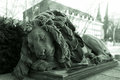 Statue of sleeping lion Royalty Free Stock Photo