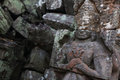 Statue of soldier on rubble at Angkor wat temple Royalty Free Stock Photos