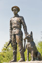 Statue of Soviet border guard with a dog in Lysianka, Ukraine.