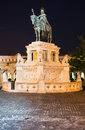 Statue of st istvan budapest in front the fishermen bastion hungary Royalty Free Stock Photo