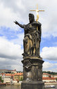 Statue of St. John the Baptist. Charles Bridge in Prague. Royalty Free Stock Images