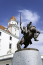Statue of svatopluk prince great moravia at the entrance the bratislava castle Stock Image