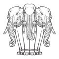 Statue of three elephants. Popular motiff in Asian arts and crafts. Intricate hand drawing isolated on white background
