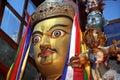 Statue of Tibetan Buddhism founder Padmasambhava Guru Rinpoche in the monastery Zhidung gompa. Royalty Free Stock Photo