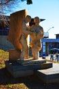 Statue to the Italian immigrants, Treviso, Italy Royalty Free Stock Photo
