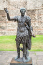 Statue of trajan london uk bronze the roman emperor england Royalty Free Stock Image