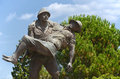 Statue Of A Turkish Soldier Carrying Australian Soldier, Canakkale, Turkey Royalty Free Stock Photo