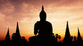 Statue on twilight time and old temple Royalty Free Stock Photography