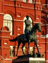 Statue of USSR war hero Marshal Zhukov in Moscow Russia Royalty Free Stock Photo