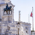 Statue of victor emmanuel ii of italy at the altar the fatherland Stock Photos