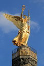 Statue of victory in berlin golden monument viktoria Stock Images
