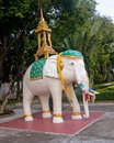 Statue white elephant figurine of an is very common decorative motif in buddhist temples Royalty Free Stock Image