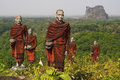 Statues of Buddhist Monks in Mawlamyine, Myanmar Royalty Free Stock Photo
