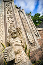 Statues and carvings depicting demons, gods and Balinese mytholo Royalty Free Stock Photo