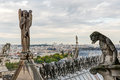 Statues and chimeras gargoyles of the cathedral of notre dame de paris Stock Photo
