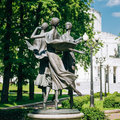 Statues depicting three graceful ballerina dancing Royalty Free Stock Photo