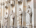 Statues at the entrance into cathedral in barcelona spain of apostles is heart of barri gotic gothic quarter of Royalty Free Stock Image