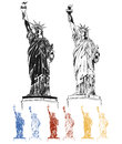 Statues of liberty in the set black red blue yellow inverted ready to print to the independence day on july Stock Images