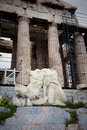 Statues at the parthenon status athens greece Royalty Free Stock Images