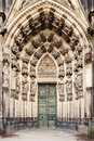 Statues surrounding the west entrance of the Cologne Cathedral, Germany. Royalty Free Stock Photo