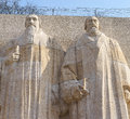 Statues of theodore de beze and john knox on the reformation wall in parc des bastions geneva switzerland photo taken on march Royalty Free Stock Photos