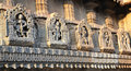 Statues on the walls of Hindu temple Royalty Free Stock Photo