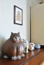 Statuette cats on furniture photo taken on august Stock Photography