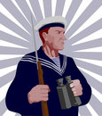 Staunch world war two sailor Royalty Free Stock Photo