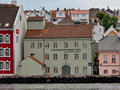 Stavanger harbour building in traditional style front of old town Royalty Free Stock Photo