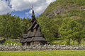 Stave church borgund from the th century located in laerdal in norway Stock Photo