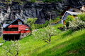 Stavenger beautiful log home den norway in spring Royalty Free Stock Photo