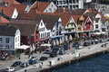 Stavenger waterfront view of brightly coloured buildings in norway Stock Images