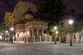 Stavropoleos monastery bucharest romania in downtown at night Stock Image