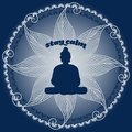 Stay calm vector illustration of buddha s silouhette while meditating in lotus pose it reads Stock Photography