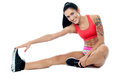 Stay fit exercise regularly athletic woman doing stretching Royalty Free Stock Photo