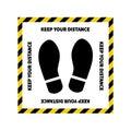 Social distancing. Footprint sign. Keep the 2 meter distance. Coronovirus epidemic protective. Vector