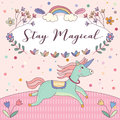 Stay Magical Unicorns Pink Greeting Card Vector