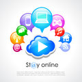 Stay online vector poster design Stock Images