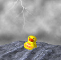 Stay strong be tough yellow duck afloat rainstorm illustration despite the merciless torrential rain and high seas our stayed and Royalty Free Stock Images