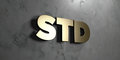 Std - Gold sign mounted on glossy marble wall  - 3D rendered royalty free stock illustration Royalty Free Stock Photo