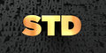 Std - Gold text on black background - 3D rendered royalty free stock picture Royalty Free Stock Photo