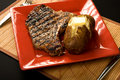 Steak and baked potato Royalty Free Stock Photo