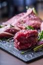 Steak.Beef steak.Meat.Portioned meat.Raw fresh meat.Sirloin steak.T-Bone steak. Flank steak. Duck breast. Vegetable decoration. Royalty Free Stock Photo