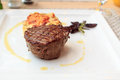 Steak with gratin on a plate beef potato Royalty Free Stock Photo